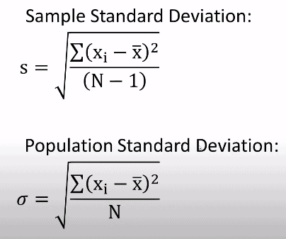Sample standard deviation and population standard deviation formula